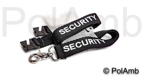 Black SECURITY Lanyard with ID Holder