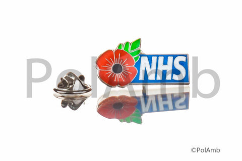 NHS Poppy Rememberance Tie Pin Lapel Badge