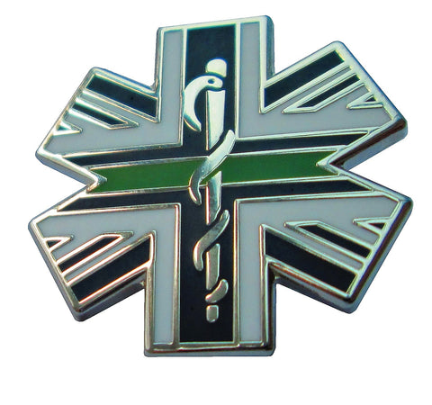 Thin Green Line Star of Life Union Flag Tie Pin Lapel Badge