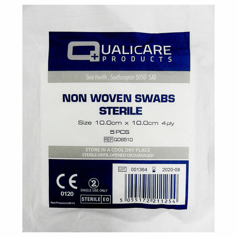 Qualicare Non Woven 4PLY Sterile First Aid Medical Gauze Swabs 10 x 10 CM
