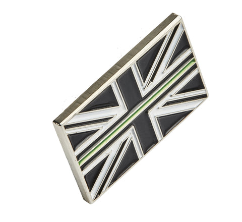 Thin Green Line Union Jack Metal Tie Pin Lapel Badge
