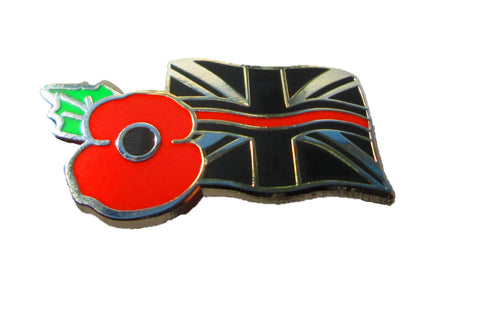 Thin Red Line & Poppy Union Rememberance Tie Pin Lapel Badge