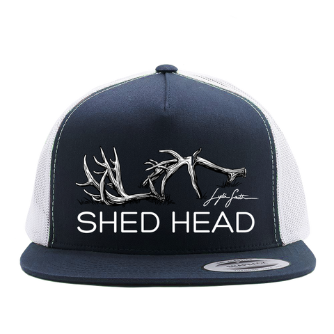 Shed Head Navy & White Flat Brim Hat