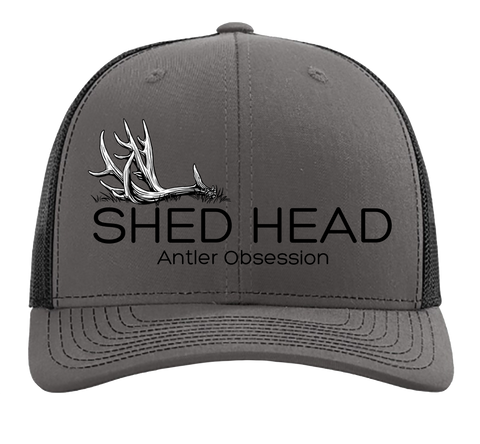 Shed Head Single Antler Charcoal & Black Hat