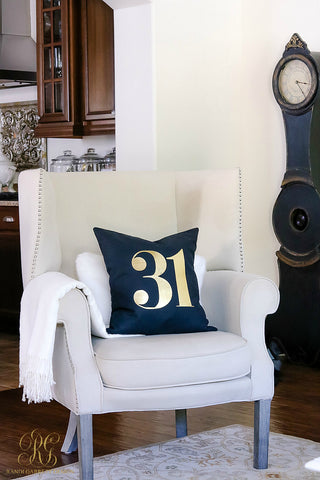 "Halloween ""31"" Black Canvas Pillow Cover with Gold Foil"