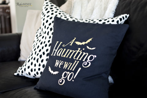 "Halloween ""A Haunting We Will Go"" Gold Foiled Accent Pillow Cover"
