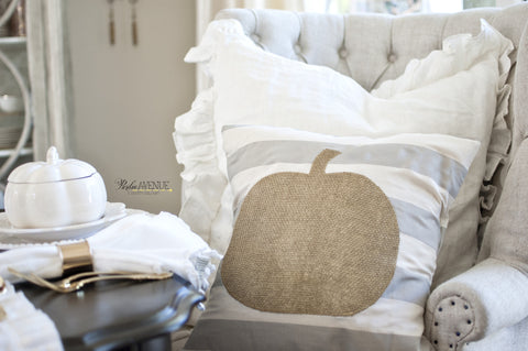 Fall Gold Burlap Pumpkin on Gray & Cream Striped Pillow Cover