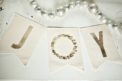 JOY Gold Foil on Cream Canvas Bunting Banner