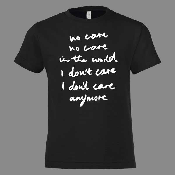 Mens No Care Black T-shirt