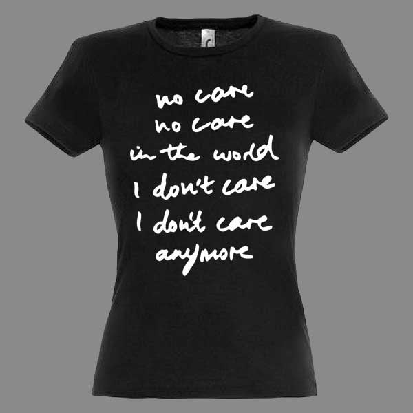 Ladies No Care Black T-shirt
