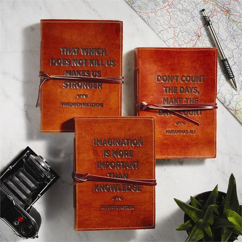 Leather quote notebooks stockist The Old School Beauly