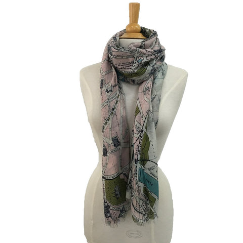 Paris Streets Scarf shown on a mannequin, the perfect gift for a lady who loves Paris, a Paris themed gift