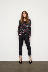 Part Two Inara Blouse in Navy with Red and Cream Spots