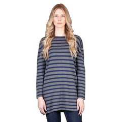 Saskia Clothing navy and pale blue knitted tunic.