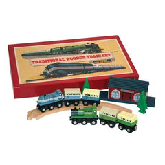 Traditional Wooden Train Set front