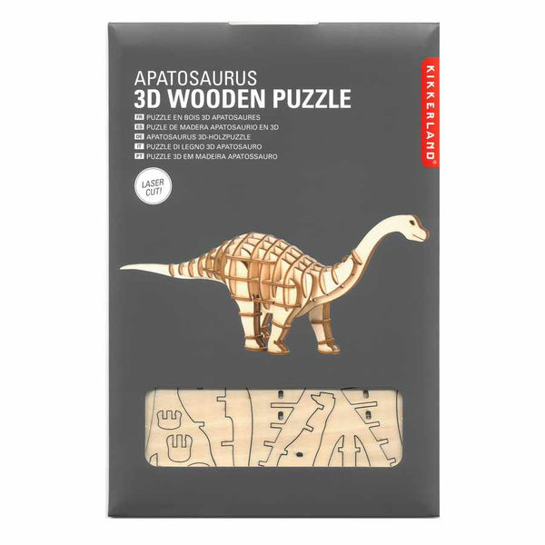 3D Wooden Puzzle Apatosaurus in package