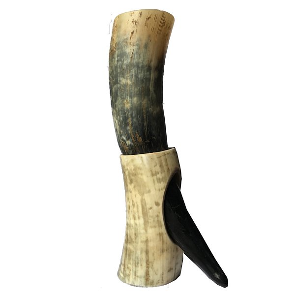 Abbeyhorn Rough Drinking Horn on Stand