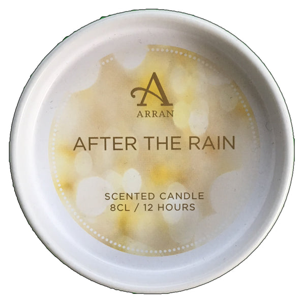 Arran Aromatics After The Rain Scented Candle 8cl tin lid