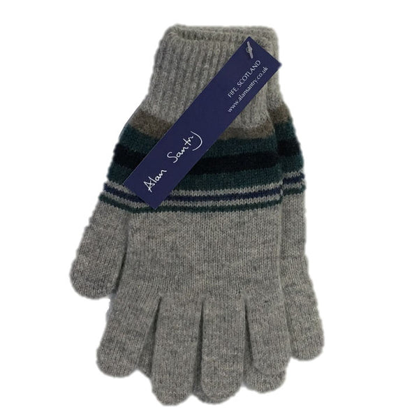 Alan Santry Knitwear Striped Wool Gloves GL672