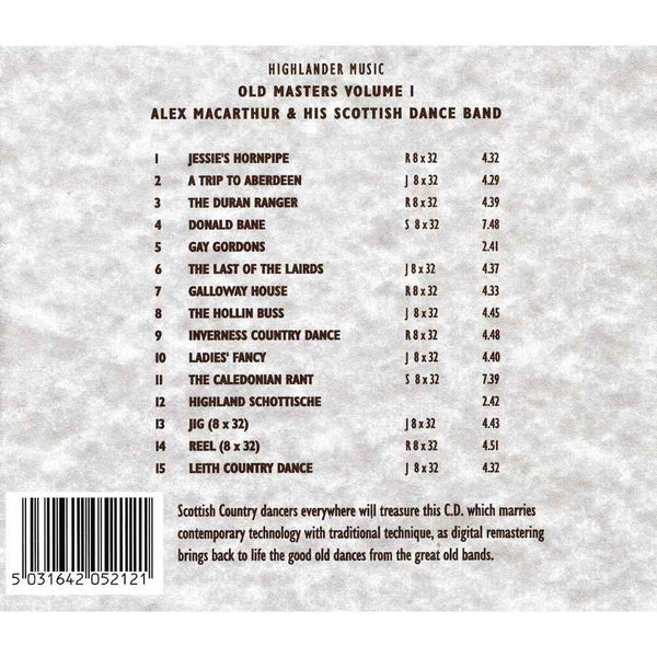 Alex MacArthur & His Scottish Dance Band - Old Masters Volume 1 CD track list