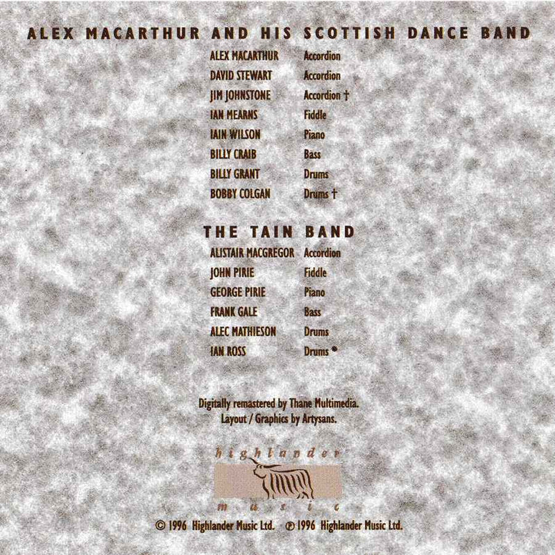Alex MacArthur & His Scottish Dance Band & The Tain Band - Old Masters Volume 2 CD booklet inside