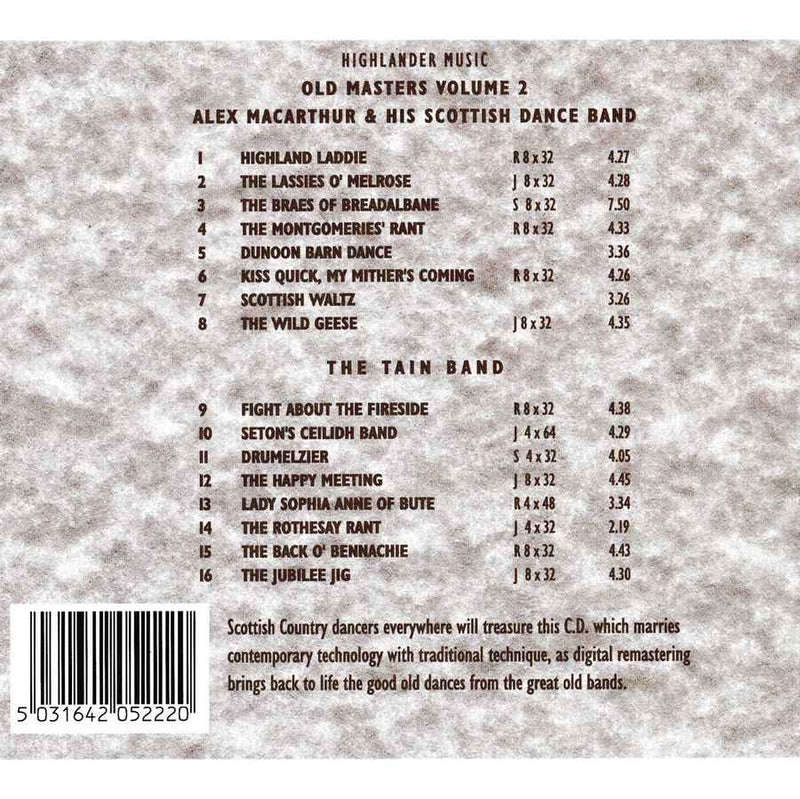 Alex MacArthur & His Scottish Dance Band & The Tain Band - Old Masters Volume 2 CD track list