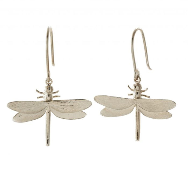 Alex Monroe Jewellery Dragonfly Hook Earrings Silver SMGE11-S front
