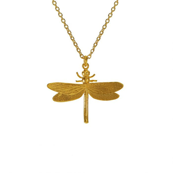 Alex Monroe Jewellery Dragonfly Necklace Gold Plated MGN10-GP front