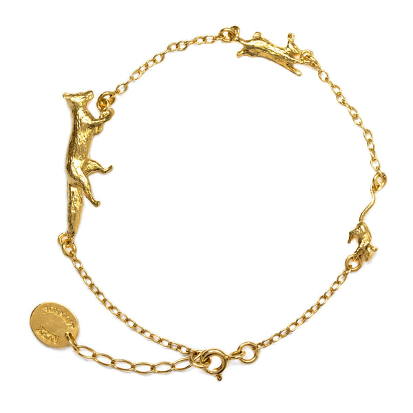 Alex Monroe Jewellery Fox Rabbit and Mouse Chase Bracelet Gold Plated TCB1-GP