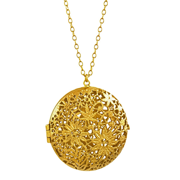 Alex Monroe Jewellery Large Chantilly Lace Locket Gold Plated THL2-GP front