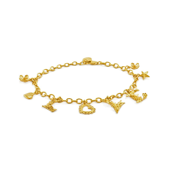 Alex Monroe Jewellery Love Mixed Charm Bracelet Gold Plated SLB3-GP main