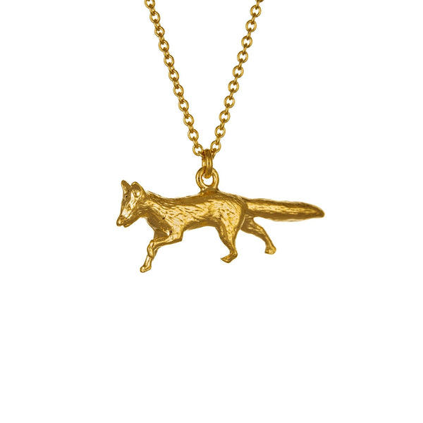 Alex Monroe Jewellery Prowling Fox Necklace Gold Plated TCN8-GP front
