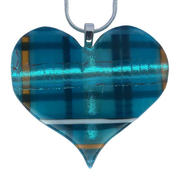 Alicia MacInnes Fused Glass Jewellery Skye Tartan Pendant Heart Necklace
