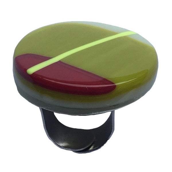 Alicia MacInnes Fused Glass Jewellery Spring Green Round Ring main