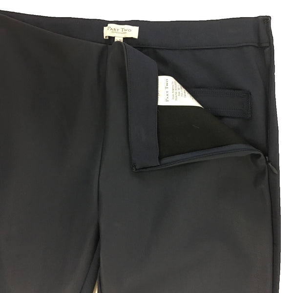 Part Two Ananna Faux Leather Trouser Blue Graphite detail