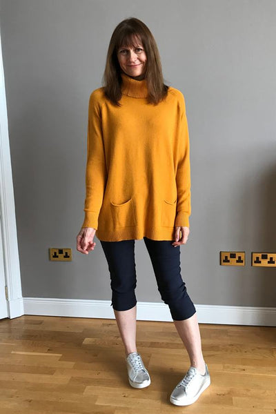 Anna Rollneck Tunic in Mustard on Helen 1