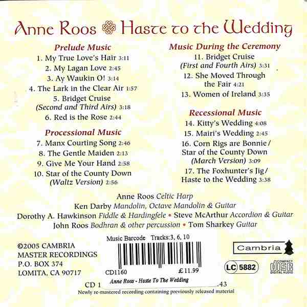 Anne Roos - Haste To The Wedding CD back cover