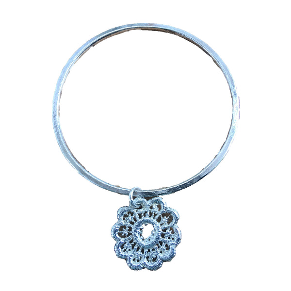Sterling Silver Bangle With Lace Drop