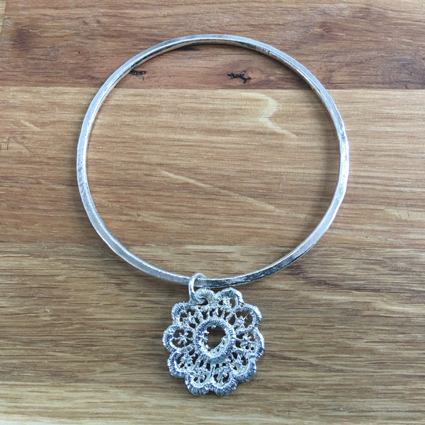 Antique Lace Sterling Silver Bangle With Lace Drop