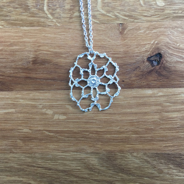 Antique Lace Sterling Silver Cobweb Necklace