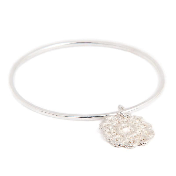 I Love A Lassie Jewellery Antique Lace Silver Bangle With Lace Drop