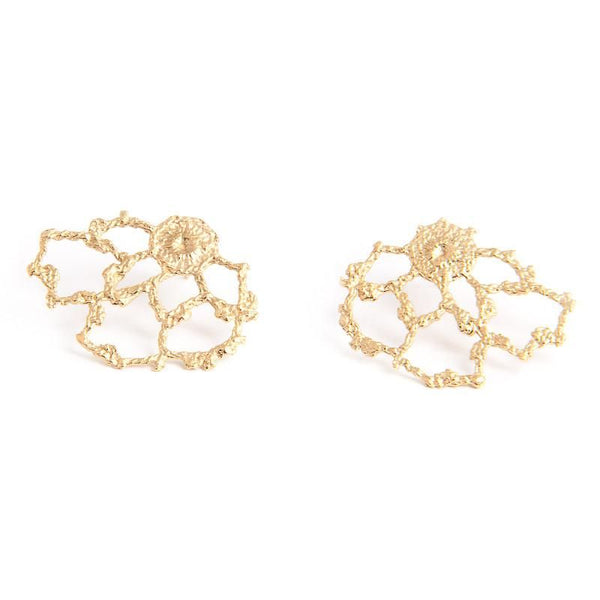 I Love A Lassie Jewellery Antique Lace Yellow Gold Cobweb Stud Earrings