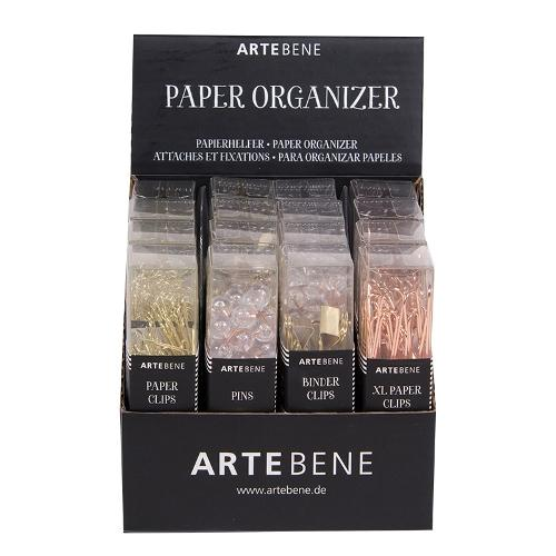 Artebene Paper Organiser Selection of Paperclips, Drawing pins & Binder clips.