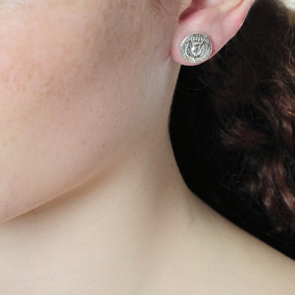 Bawbee Coin Sterling Silver Stud Earrings