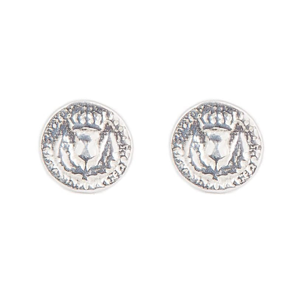 I Love A Lassie Jewellery Bawbee Coin Sterling Silver Stud Earrings
