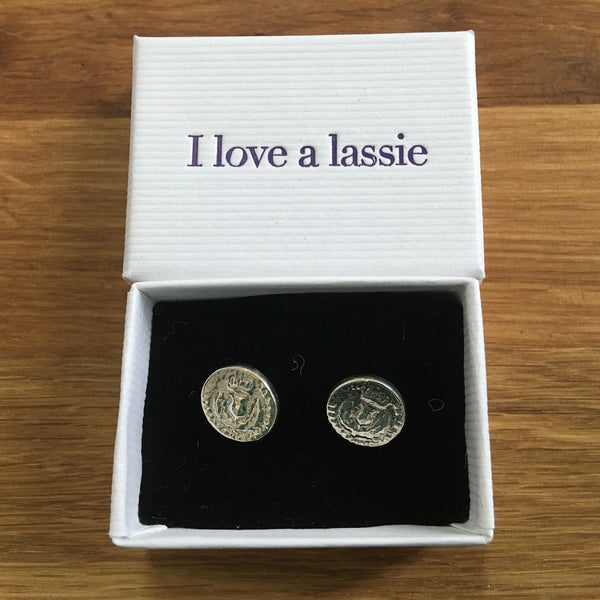 Bawbee Coin Sterling Silver Stud Earrings boxed