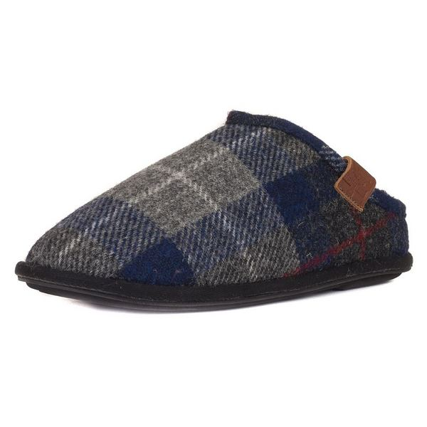 Bedroom Athletics William Harris Tweed Mule Mens Slippers Navy & Black Check