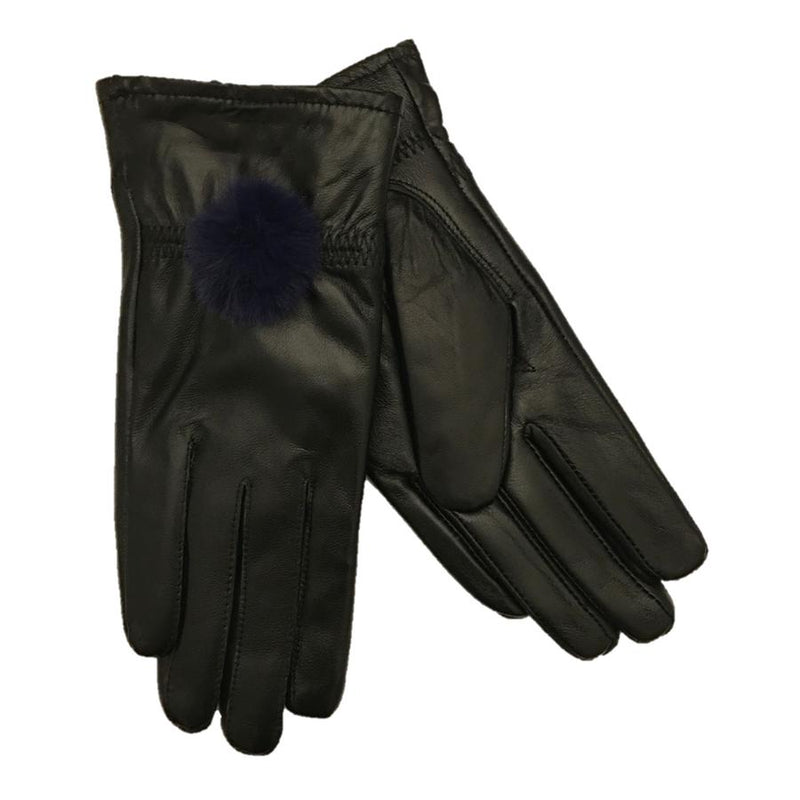 Black Leather Gloves with Blue Pompom front and back