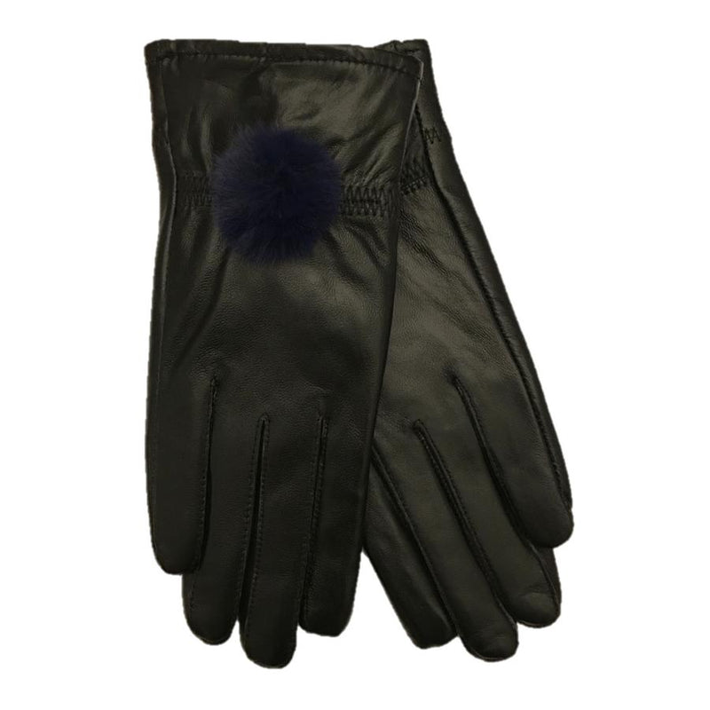 Black Leather Gloves with Blue Pompom pair