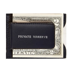 Leather Money Clip Wallet - black with dollar notes